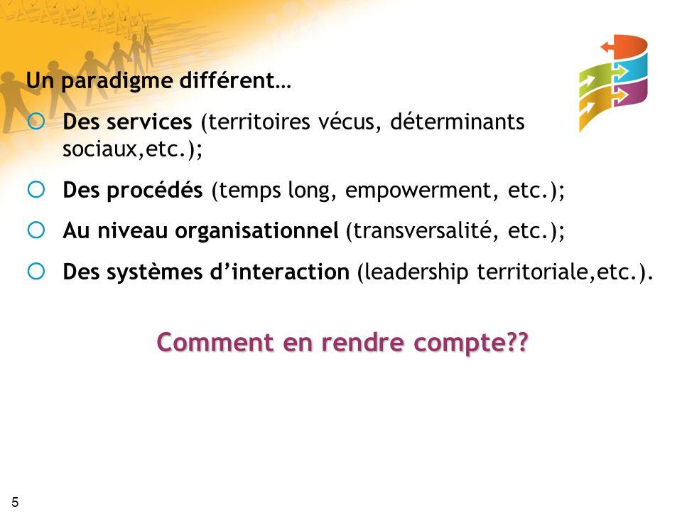 5 Un paradigme différent… Des services (territoires vécus, déterminants sociaux,etc.); Des procédés (temps long, empowerment, etc.); Au niveau organis