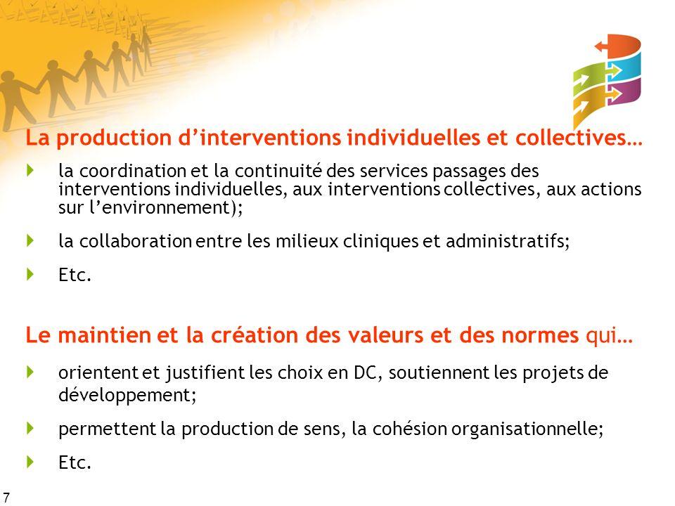 7 La production dinterventions individuelles et collectives… la coordination et la continuité des services passages des interventions individuelles, a
