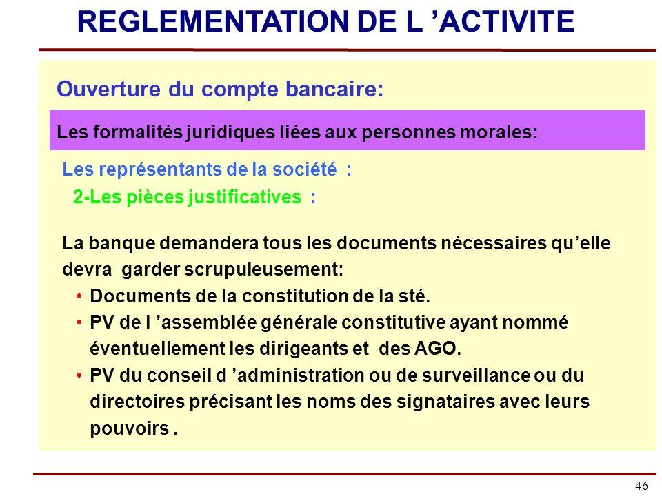 46 Les représentants de la société : 2-Les pièces justificatives : La banque demandera tous les documents nécessaires quelle devra garder scrupuleusement: Documents de la constitution de la sté.