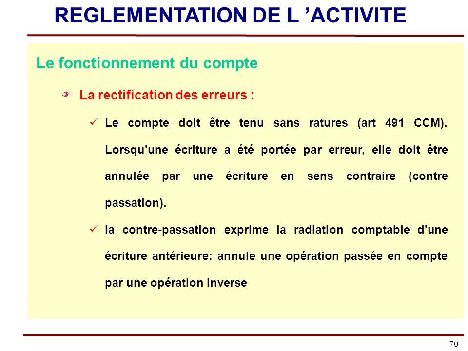70 Le fonctionnement du compte La rectification des erreurs : Le compte doit être tenu sans ratures (art 491 CCM).