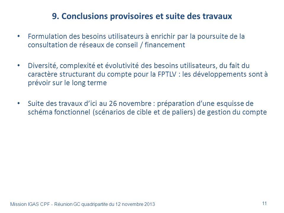 9. Conclusions provisoires et suite des travaux 11 Formulation des besoins utilisateurs à enrichir par la poursuite de la consultation de réseaux de c