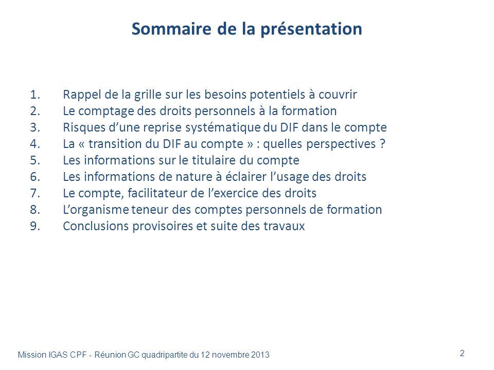 Sommaire de la présentation 1.Rappel de la grille sur les besoins potentiels à couvrir 2.Le comptage des droits personnels à la formation 3.Risques du