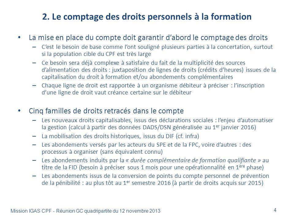 2. Le comptage des droits personnels à la formation La mise en place du compte doit garantir dabord le comptage des droits – Cest le besoin de base co
