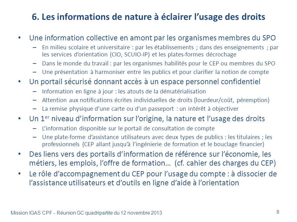 6. Les informations de nature à éclairer lusage des droits Une information collective en amont par les organismes membres du SPO – En milieu scolaire