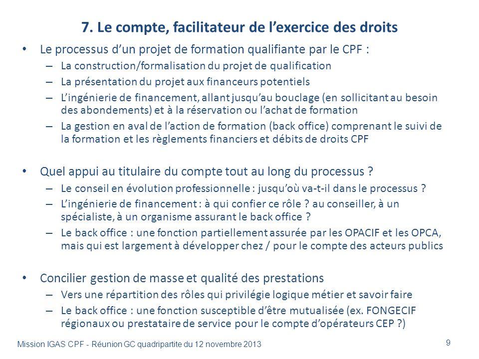 7. Le compte, facilitateur de lexercice des droits Le processus dun projet de formation qualifiante par le CPF : – La construction/formalisation du pr