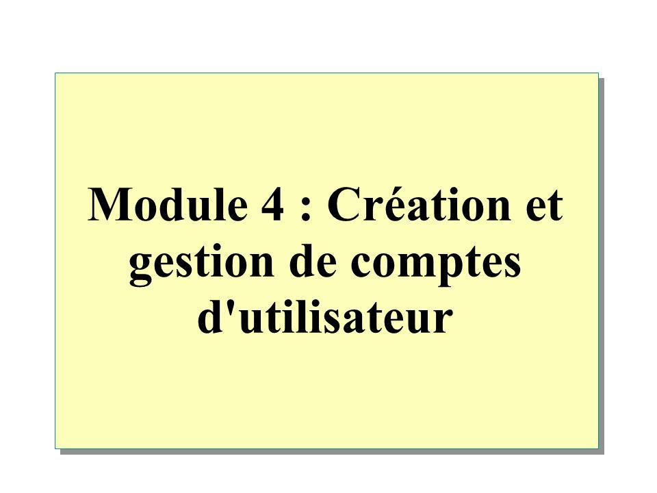 Module 4 : Création et gestion de comptes d utilisateur