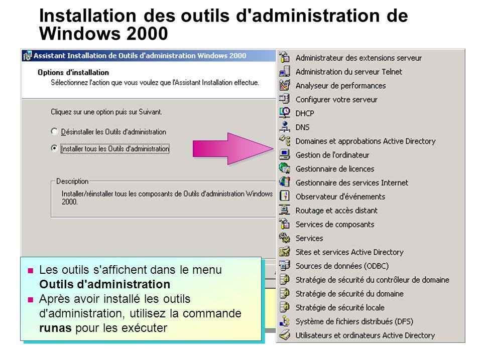 Installation des outils d administration de Windows 2000 Les outils s affichent dans le menu Outils d administration Après avoir installé les outils d administration, utilisez la commande runas pour les exécuter Les outils s affichent dans le menu Outils d administration Après avoir installé les outils d administration, utilisez la commande runas pour les exécuter