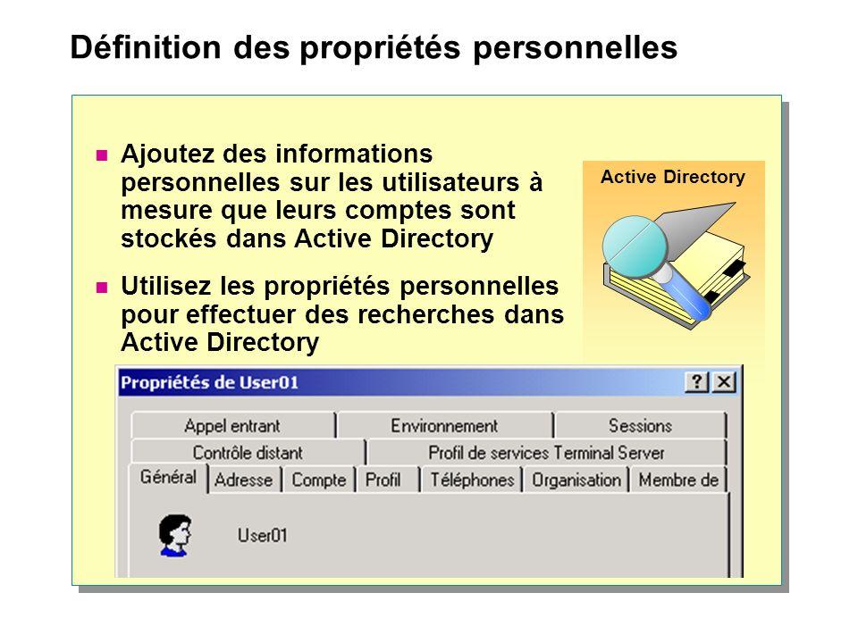 Définition des propriétés personnelles Active Directory Ajoutez des informations personnelles sur les utilisateurs à mesure que leurs comptes sont stockés dans Active Directory Utilisez les propriétés personnelles pour effectuer des recherches dans Active Directory