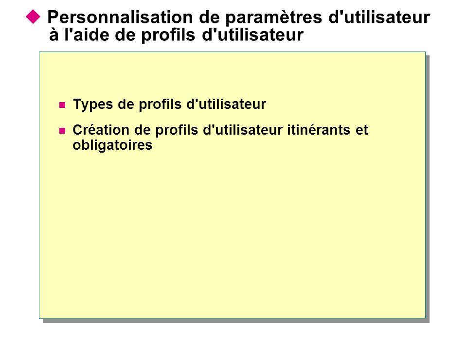 Personnalisation de paramètres d utilisateur à l aide de profils d utilisateur Types de profils d utilisateur Création de profils d utilisateur itinérants et obligatoires