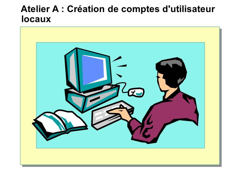 Création et configuration de comptes d utilisateur de domaine Installation des outils d administration de Windows 2000 Création d un compte d utilisateur de domaine Définition des options de mot de passe Création de dossiers de base pour gérer des données utilisateur