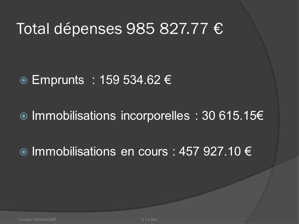 TOTAL DES DEPENSES DE LA SECTION
