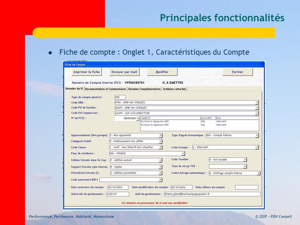 © 2008 – P2H ConseilPerformance, Pertinence, Habileté, Humanisme Principales fonctionnalités Fiche de compte : Onglet 1, Caractéristiques du Compte