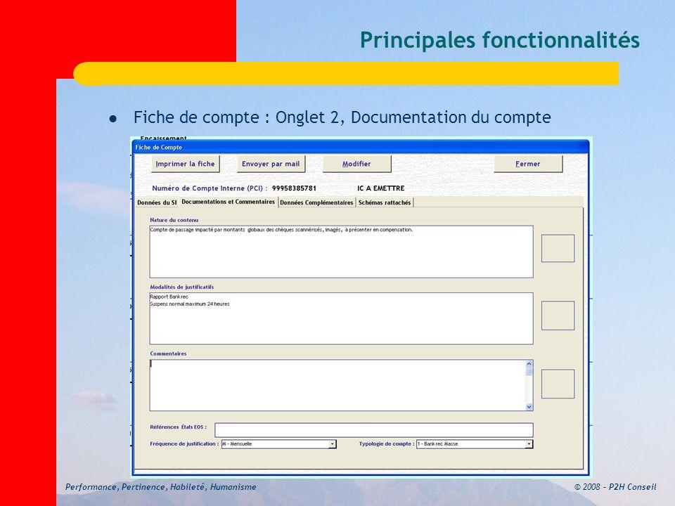 © 2008 – P2H ConseilPerformance, Pertinence, Habileté, Humanisme Principales fonctionnalités Fiche de compte : Onglet 2, Documentation du compte