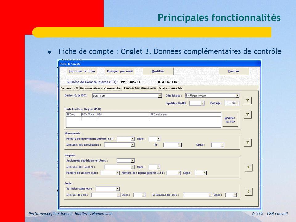 © 2008 – P2H ConseilPerformance, Pertinence, Habileté, Humanisme Principales fonctionnalités Fiche de compte : Onglet 3, Données complémentaires de contrôle