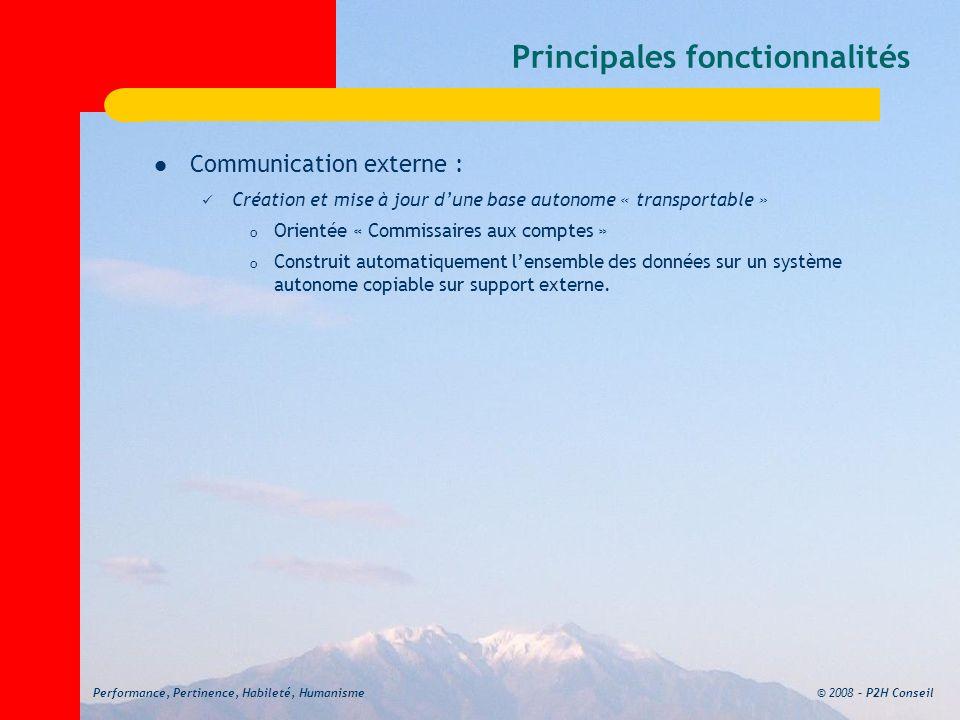 © 2008 – P2H ConseilPerformance, Pertinence, Habileté, Humanisme Principales fonctionnalités Communication externe : Création et mise à jour dune base