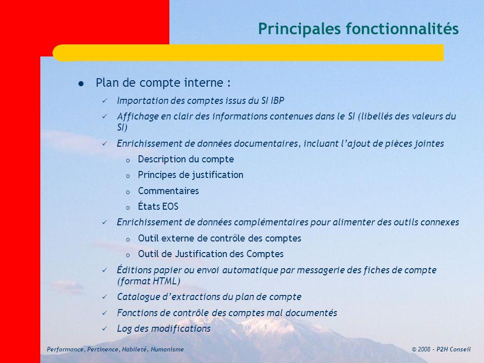 © 2008 – P2H ConseilPerformance, Pertinence, Habileté, Humanisme Principales fonctionnalités Plan de compte interne : Importation des comptes issus du