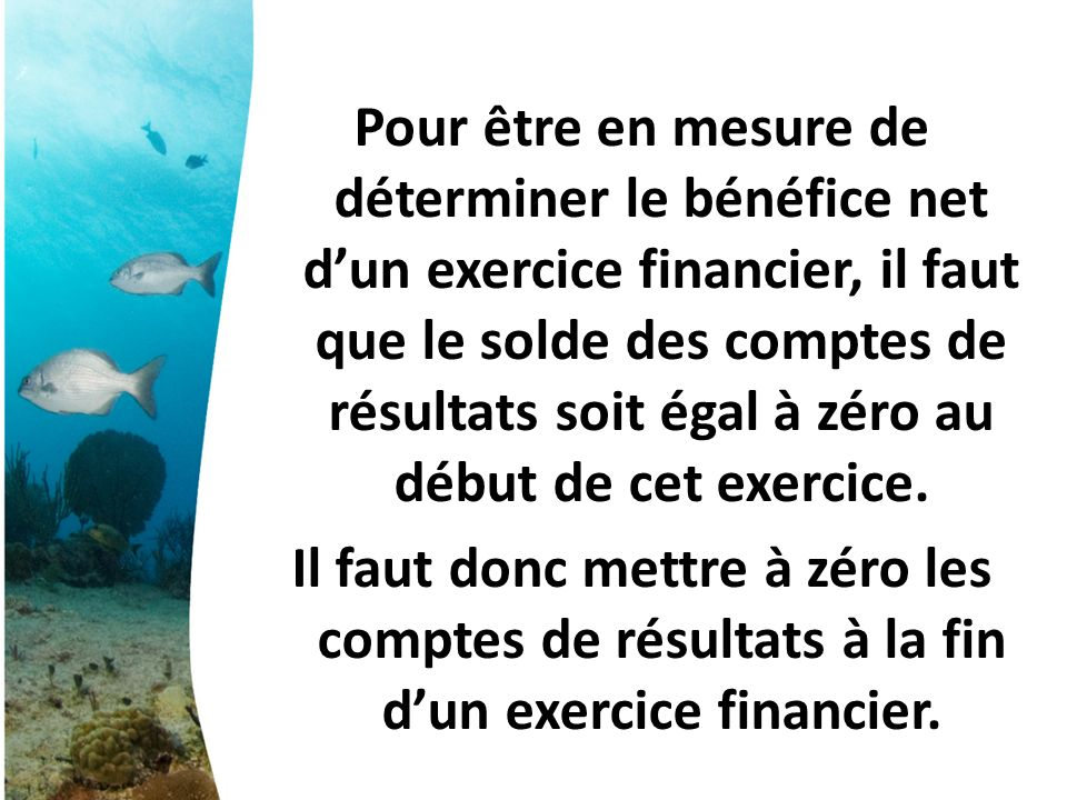 Pour être en mesure de déterminer le bénéfice net dun exercice financier, il faut que le solde des comptes de résultats soit égal à zéro au début de cet exercice.