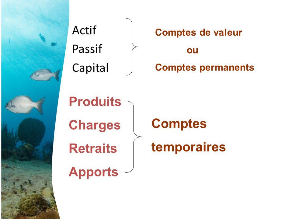 Actif Passif Capital Comptes de valeur ou Comptes permanents Produits Charges Retraits Apports Comptes temporaires