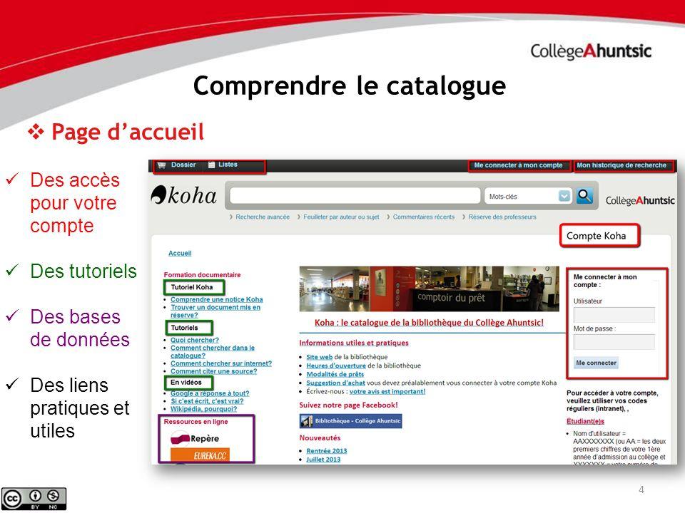 4 Comprendre le catalogue Des accès pour votre compte Des tutoriels Des bases de données Des liens pratiques et utiles Page daccueil