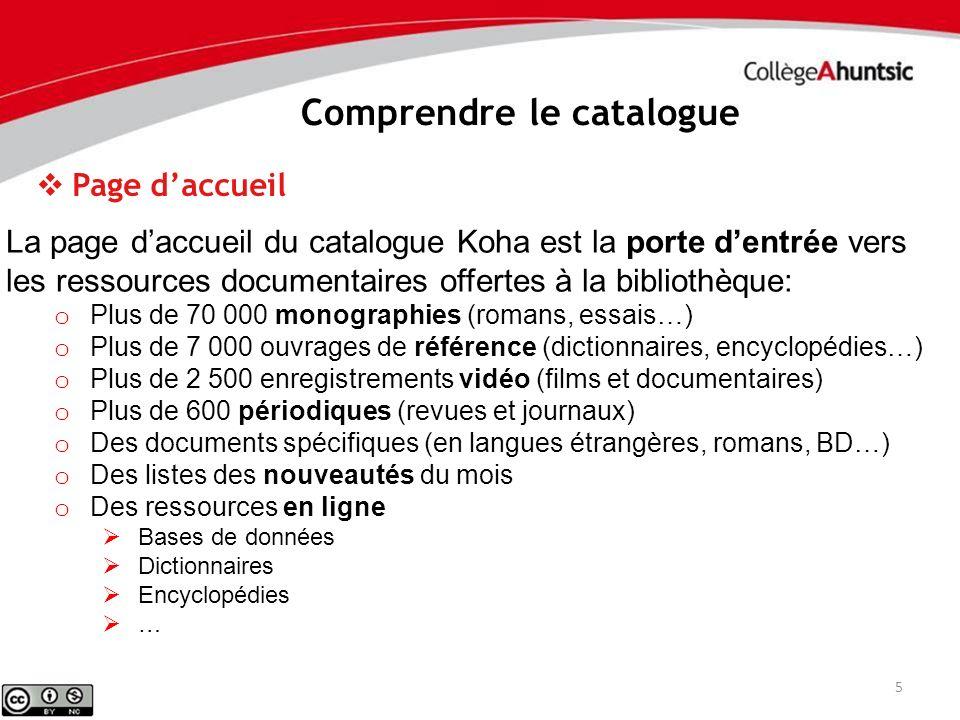 5 La page daccueil du catalogue Koha est la porte dentrée vers les ressources documentaires offertes à la bibliothèque: o Plus de 70 000 monographies