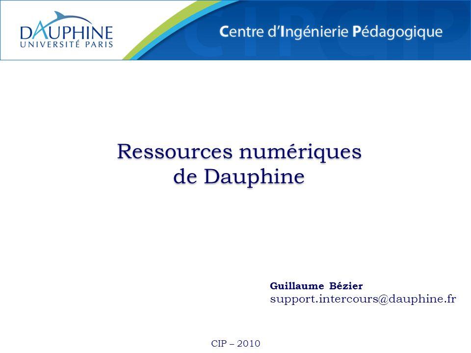 CIP – 2010 Ressources numériques de Dauphine Ressources numériques de Dauphine Guillaume Bézier support.intercours@dauphine.fr
