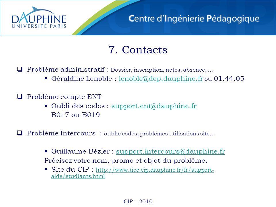CIP – 2010 7. Contacts Problème administratif : Dossier, inscription, notes, absence,... Géraldine Lenoble : lenoble@dep.dauphine.fr ou 01.44.05lenobl