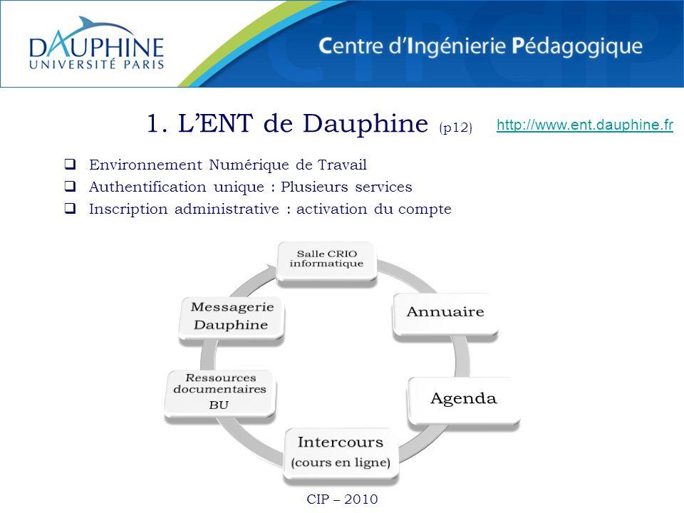 CIP – 2010 1. LENT de Dauphine (p12) Environnement Numérique de Travail Authentification unique : Plusieurs services Inscription administrative : acti
