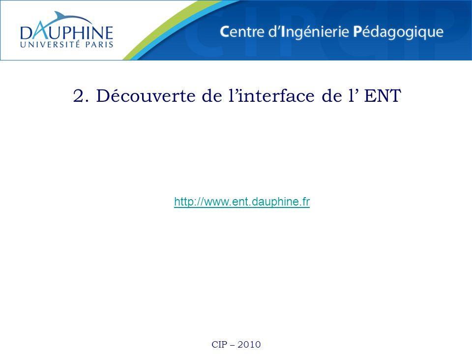 CIP – 2010 2. Découverte de linterface de l ENT http://www.ent.dauphine.fr