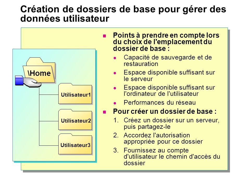 Création de dossiers de base pour gérer des données utilisateur Points à prendre en compte lors du choix de l'emplacement du dossier de base : Capacit