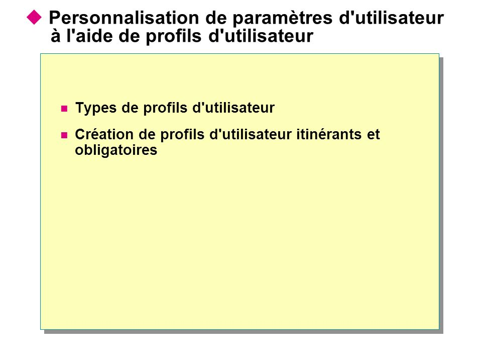 Personnalisation de paramètres d'utilisateur à l'aide de profils d'utilisateur Types de profils d'utilisateur Création de profils d'utilisateur itinér