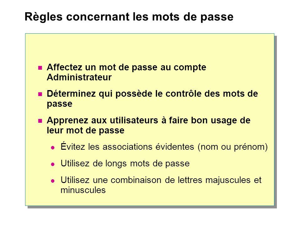 Règles concernant les mots de passe Affectez un mot de passe au compte Administrateur Déterminez qui possède le contrôle des mots de passe Apprenez au