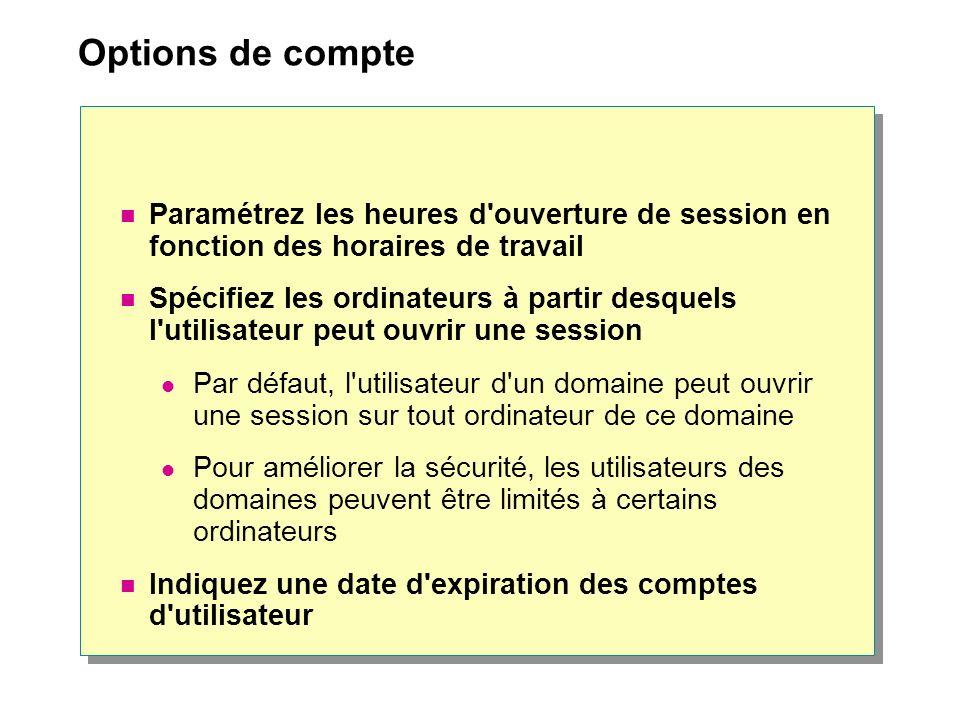 Options de compte Paramétrez les heures d'ouverture de session en fonction des horaires de travail Spécifiez les ordinateurs à partir desquels l'utili