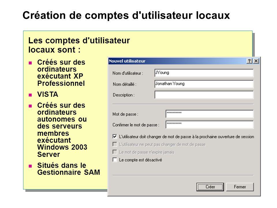Création de comptes d'utilisateur locaux Créés sur des ordinateurs exécutant XP Professionnel VISTA Créés sur des ordinateurs autonomes ou des serveur