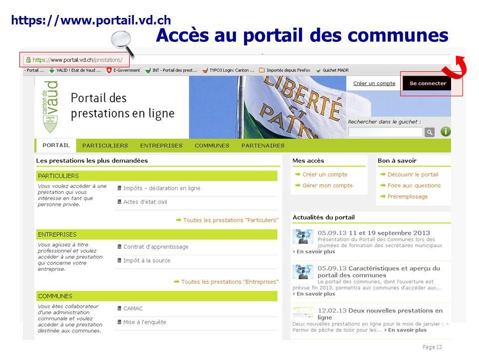 présentations Cyber Page 13 Accès au portail des communes https://www.portail.vd.ch