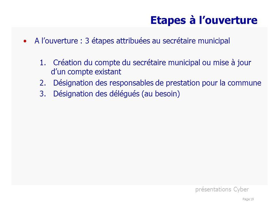 présentations Cyber Page 19 Etapes à louverture A louverture : 3 étapes attribuées au secrétaire municipal 1. Création du compte du secrétaire municip