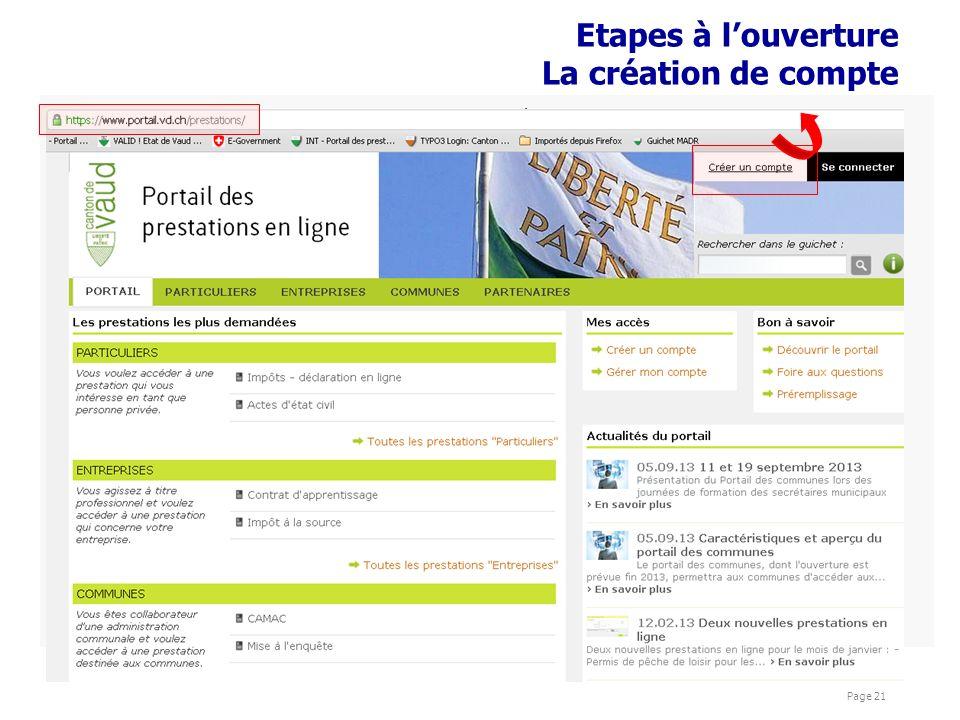 présentations Cyber Page 21 Etapes à louverture La création de compte