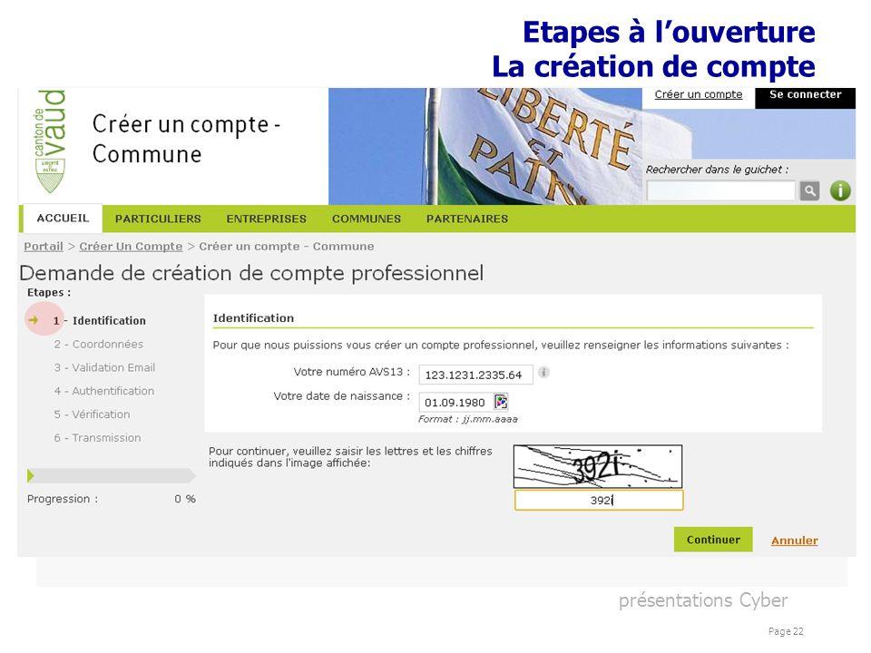 présentations Cyber Page 22 Etapes à louverture La création de compte