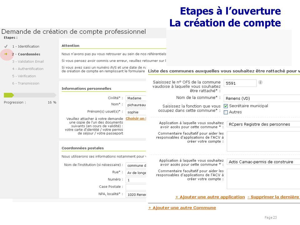 présentations Cyber Page 23 Etapes à louverture La création de compte