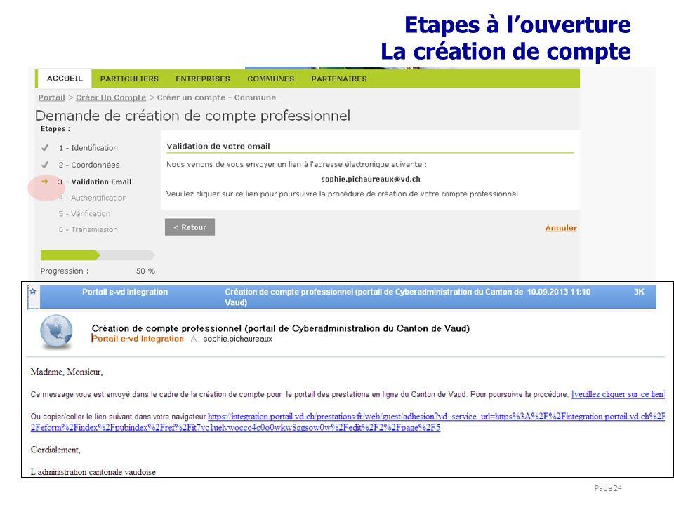 présentations Cyber Page 24 Etapes à louverture La création de compte
