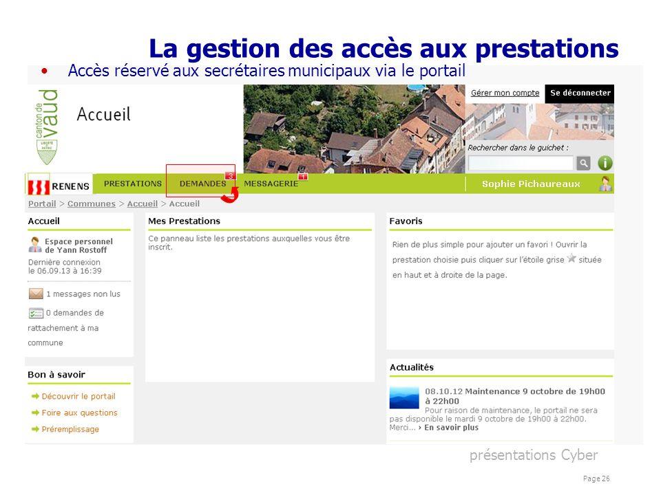 présentations Cyber Page 26 La gestion des accès aux prestations Accès réservé aux secrétaires municipaux via le portail