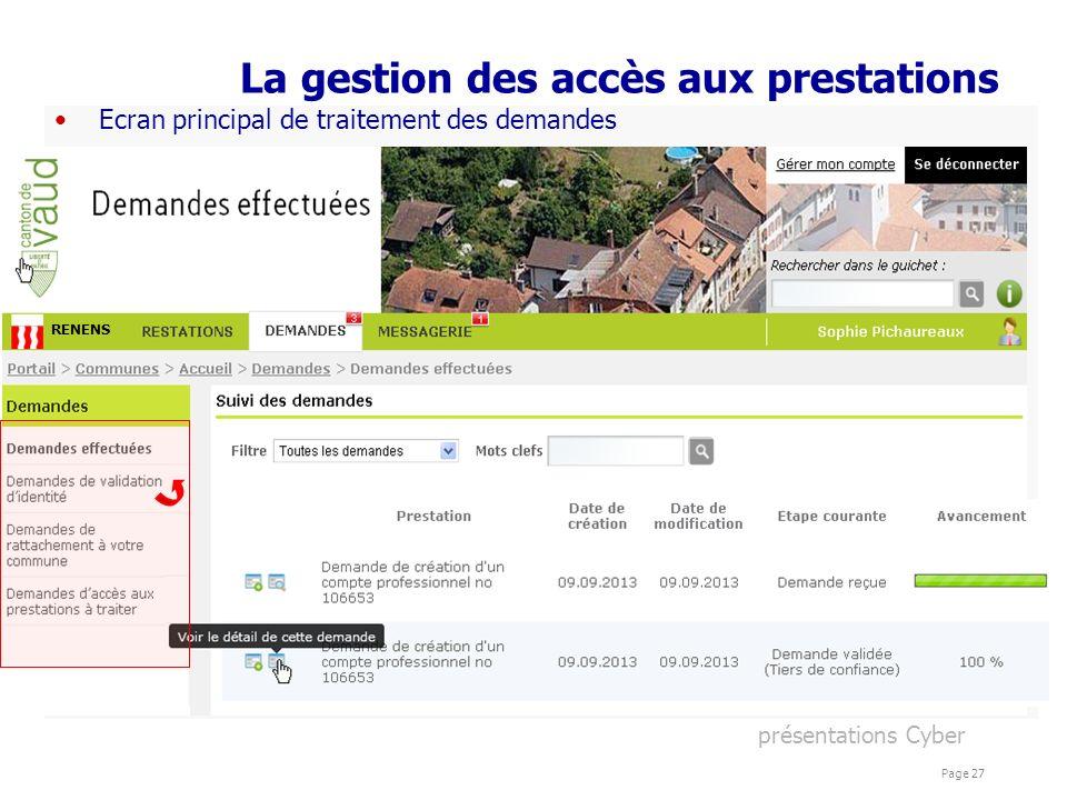 présentations Cyber Page 27 La gestion des accès aux prestations Ecran principal de traitement des demandes RENENS