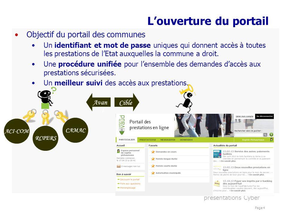présentations Cyber Page 4 Louverture du portail Objectif du portail des communes Un identifiant et mot de passe uniques qui donnent accès à toutes le