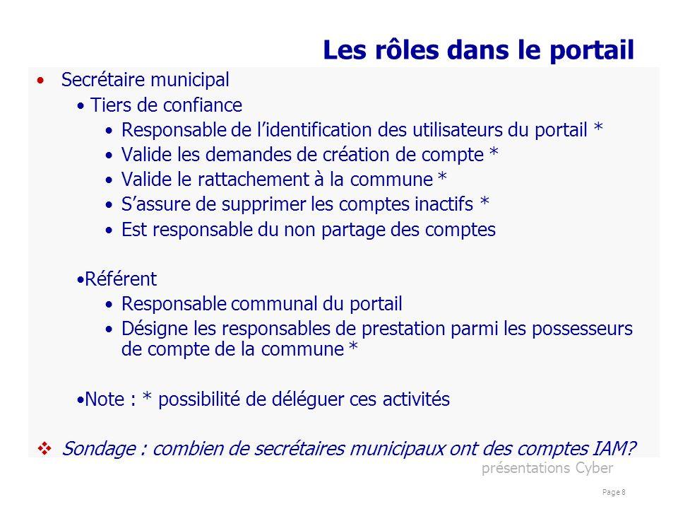 présentations Cyber Page 8 Les rôles dans le portail Secrétaire municipal Tiers de confiance Responsable de lidentification des utilisateurs du portai
