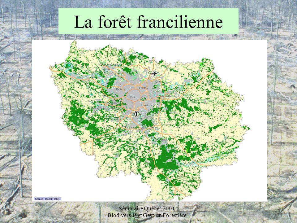 Séminaire Québec 2001 Biodiversité et Gestion Forestière La forêt francilienne Les écosystèmes les plus précieux sont : –Les zones ouvertes intraforestières ( mares, tourbières, landes, etc.), –et les îlots de vieux bois.