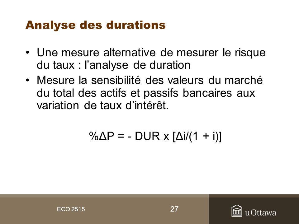 27 ECO 2515 Analyse des durations Une mesure alternative de mesurer le risque du taux : lanalyse de duration Mesure la sensibilité des valeurs du marc