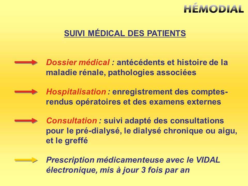 SUIVI MÉDICAL DES PATIENTS Dossier médical : antécédents et histoire de la maladie rénale, pathologies associées Hospitalisation : enregistrement des