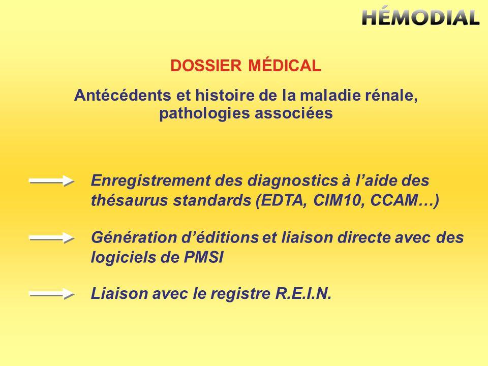 DOSSIER MÉDICAL Antécédents et histoire de la maladie rénale, pathologies associées Enregistrement des diagnostics à laide des thésaurus standards (ED