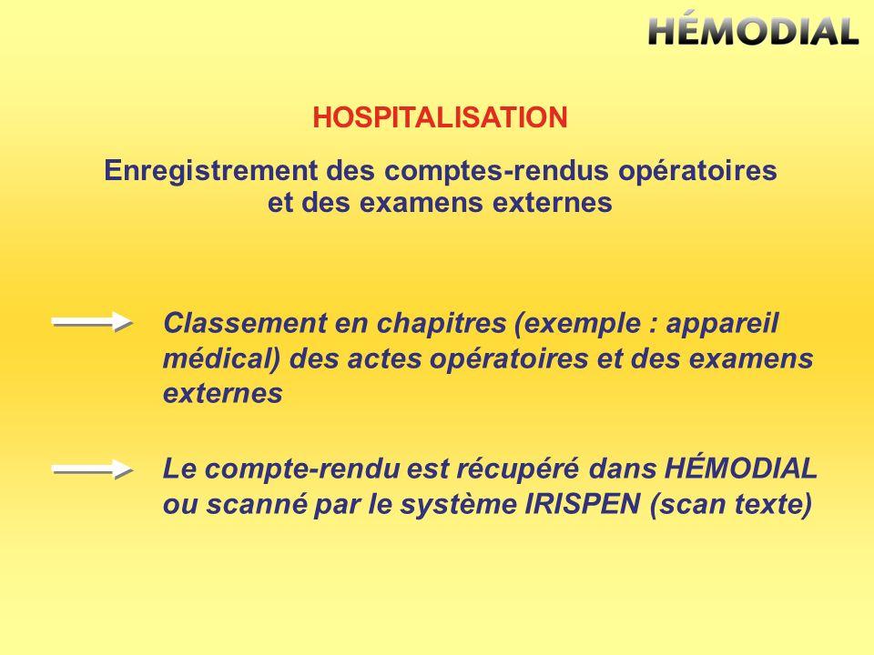 HOSPITALISATION Enregistrement des comptes-rendus opératoires et des examens externes Classement en chapitres (exemple : appareil médical) des actes o