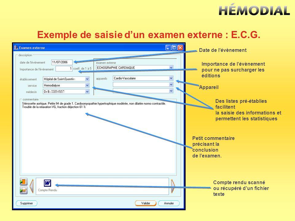 Exemple de saisie dun examen externe : E.C.G. Date de lévènement Appareil Compte rendu scanné ou récupéré dun fichier texte Des listes pré-établies fa