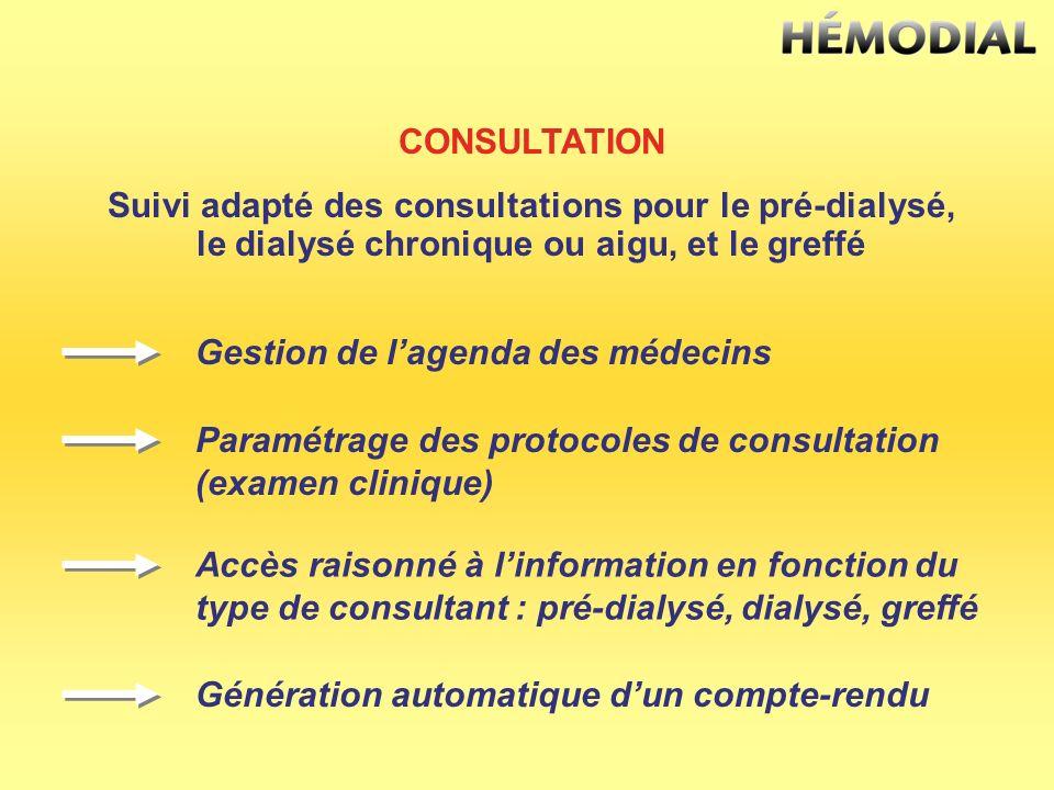 CONSULTATION Suivi adapté des consultations pour le pré-dialysé, le dialysé chronique ou aigu, et le greffé Gestion de lagenda des médecins Paramétrag